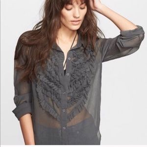 Free People Green Ruffles Tuxedo Button Down S